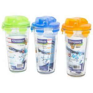 Набор шейкеров GL-1123, 450 мл, 3 шт, стекло/пластик, зеленый/синий/оранжевый