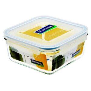 Контейнер для еды квадратный MCSB-090E, 900 мл, стекло/пластик, прозрачный/желтый
