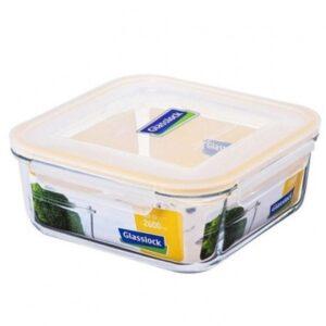 Контейнер для еды квадратный MCSB-260, 2.6 л, стекло/пластик, прозрачный